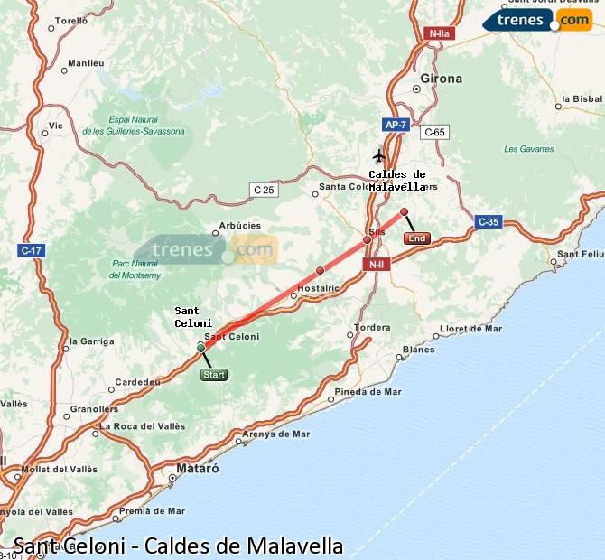 Ampliar mapa Trenes Sant Celoni Caldes de Malavella