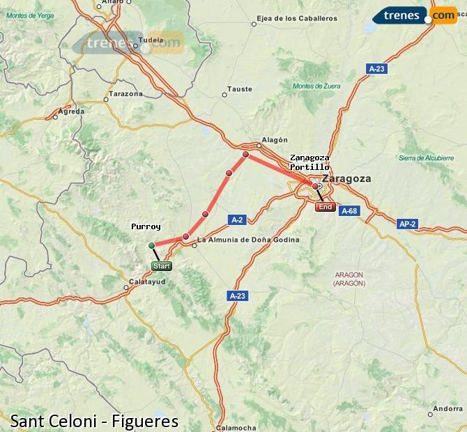 Agrandir la carte Trains Sant Celoni Figueres