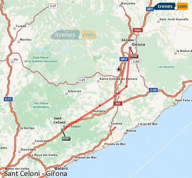 Enlarge map Trains Sant Celoni to Girona