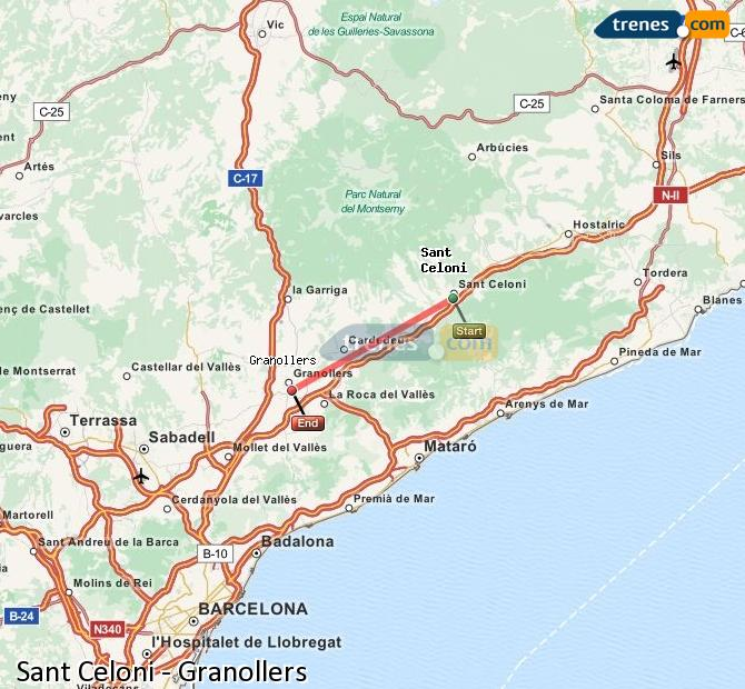 Enlarge map Trains Sant Celoni to Granollers