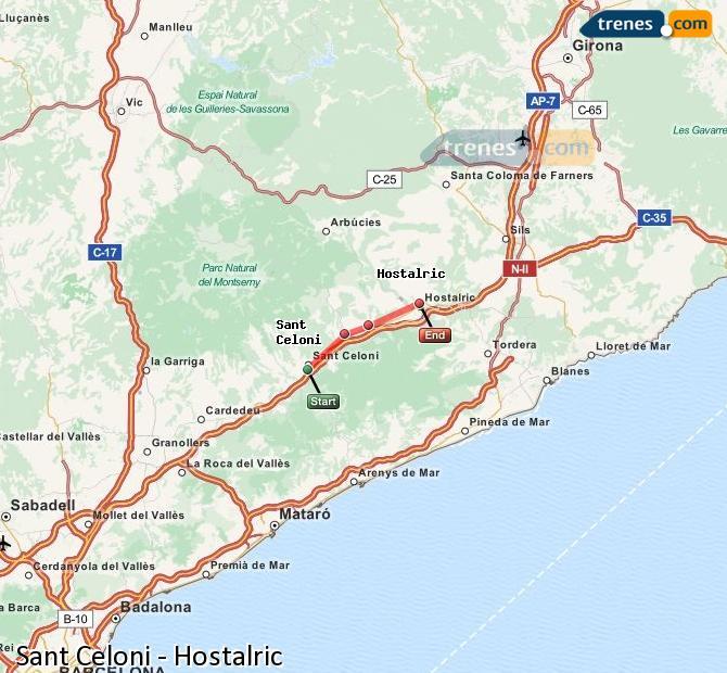 Ingrandisci la mappa Treni Sant Celoni Hostalric