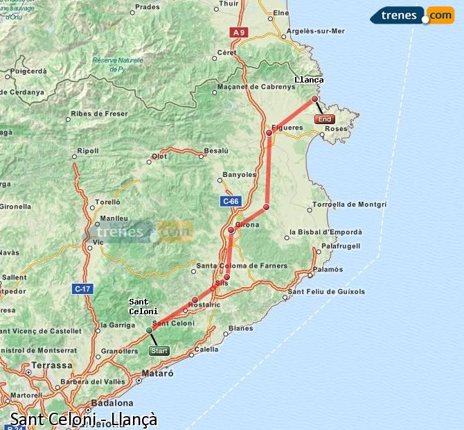 Enlarge map Trains Sant Celoni to Llançà