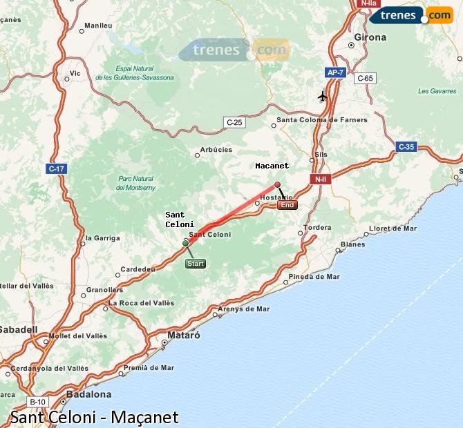 Agrandir la carte Trains Sant Celoni Maçanet
