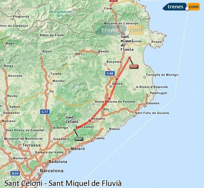 Karte vergrößern Züge Sant Celoni Sant Miquel de Fluvià