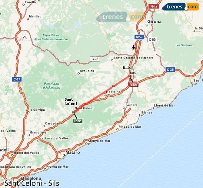 Agrandir la carte Trains Sant Celoni Sils