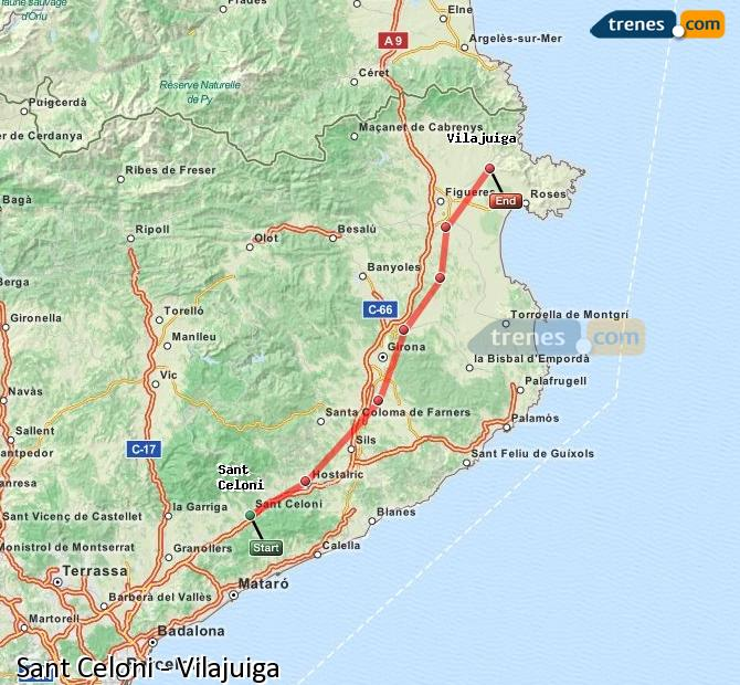 Ingrandisci la mappa Treni Sant Celoni Vilajuiga