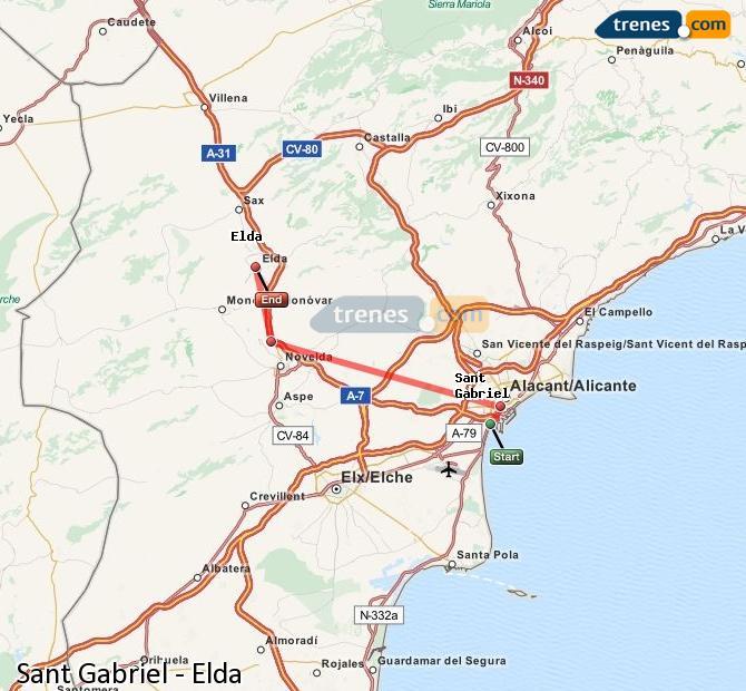 Agrandir la carte Trains Sant Gabriel Elda