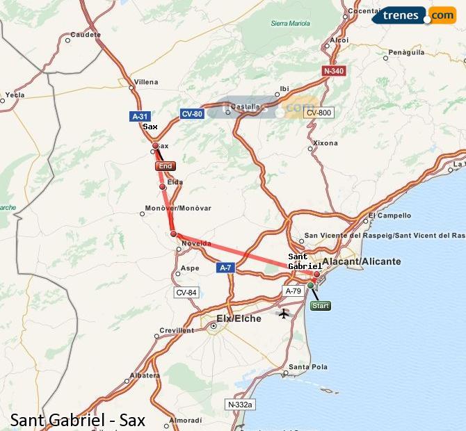 Enlarge map Trains Sant Gabriel to Sax