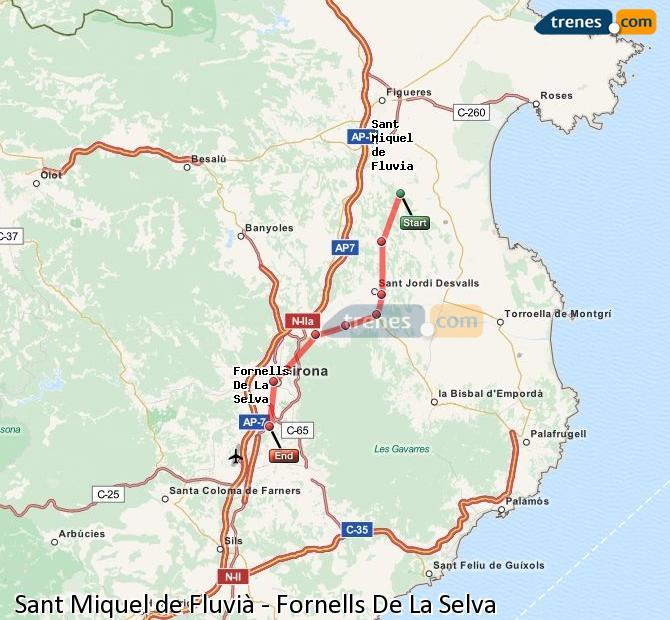 Agrandir la carte Trains Sant Miquel de Fluvià Fornells De La Selva