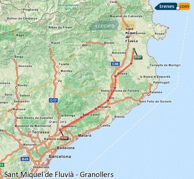 Ampliar mapa Comboios Sant Miquel de Fluvià Granollers