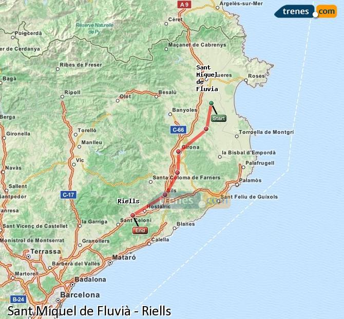 Ingrandisci la mappa Treni Sant Miquel de Fluvià Riells
