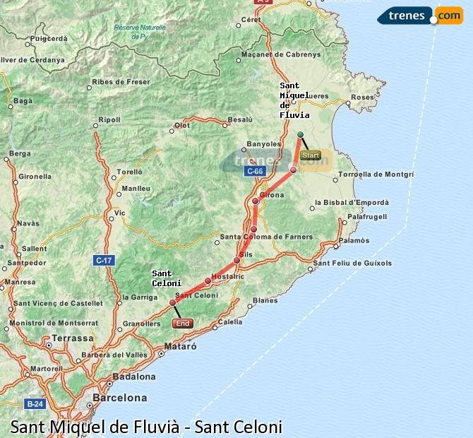 Ampliar mapa Trenes Sant Miquel de Fluvià Sant Celoni
