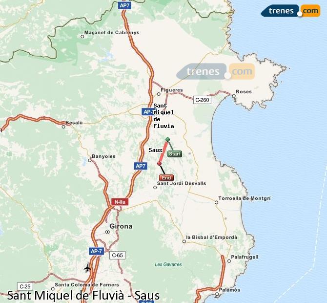 Ingrandisci la mappa Treni Sant Miquel de Fluvià Saus