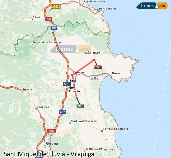 Ingrandisci la mappa Treni Sant Miquel de Fluvià Vilajuiga
