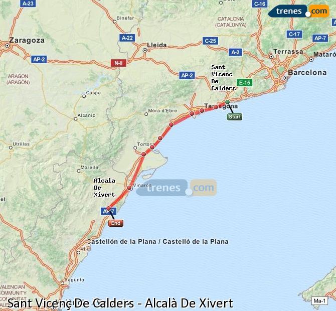 Enlarge map Trains Sant Vicenç De Calders to Alcalà De Xivert