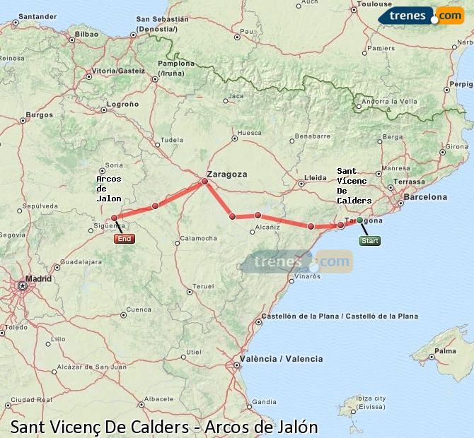 Karte vergrößern Züge Sant Vicenç De Calders Arcos de Jalón
