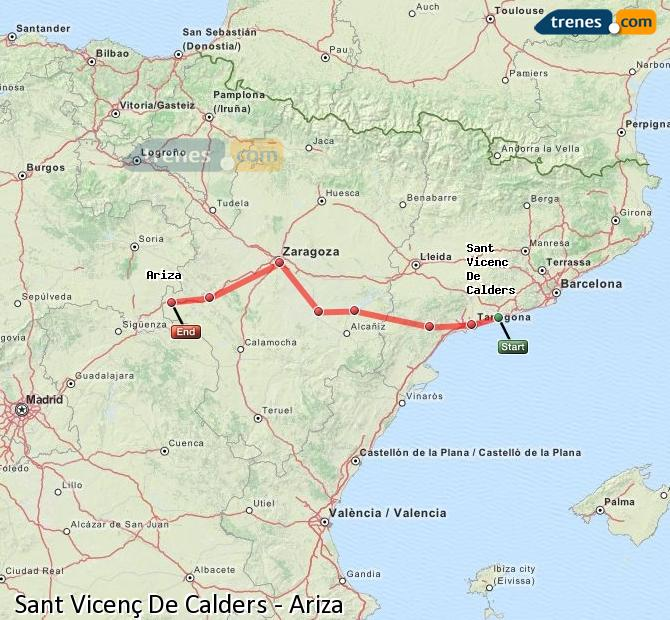 Enlarge map Trains Sant Vicenç De Calders to Ariza