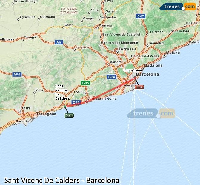 Karte vergrößern Züge Sant Vicenç De Calders Barcelona