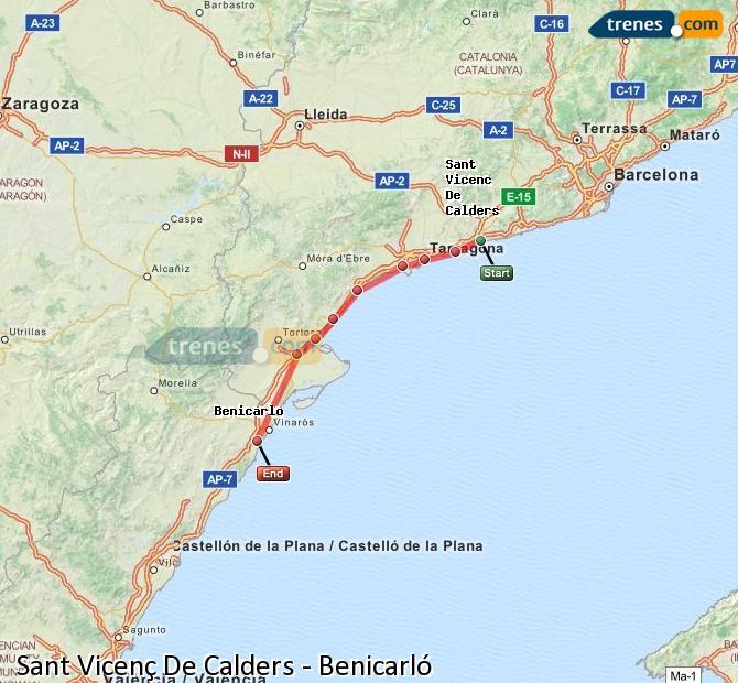 Karte vergrößern Züge Sant Vicenç De Calders Benicarló