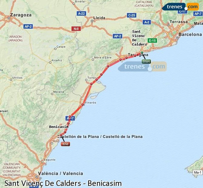 Karte vergrößern Züge Sant Vicenç De Calders Benicasim