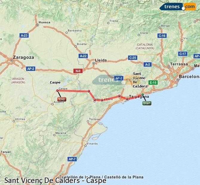 Enlarge map Trains Sant Vicenç De Calders to Caspe