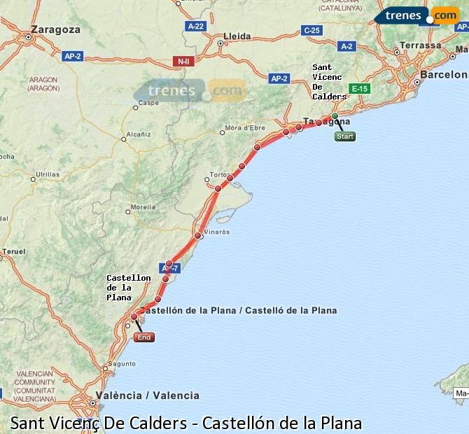 Ampliar mapa Comboios Sant Vicenç De Calders Castellón