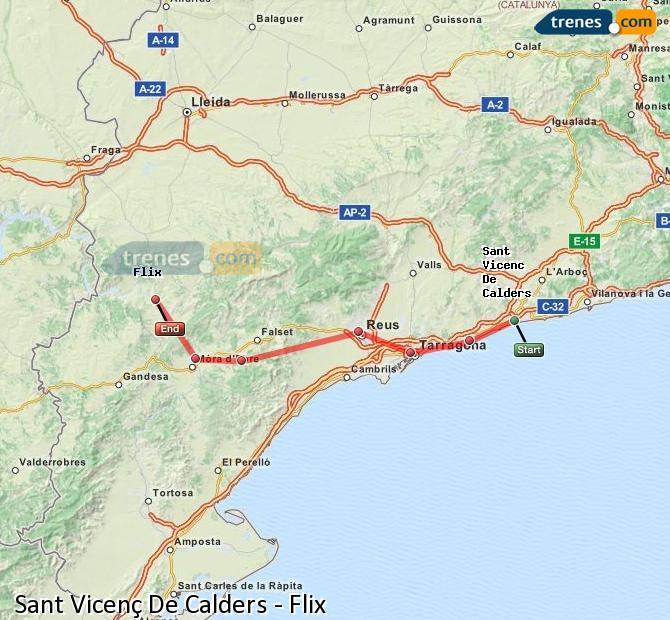 Karte vergrößern Züge Sant Vicenç De Calders Flix