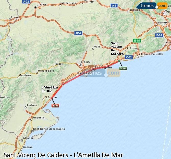Karte vergrößern Züge Sant Vicenç De Calders L'Ametlla De Mar
