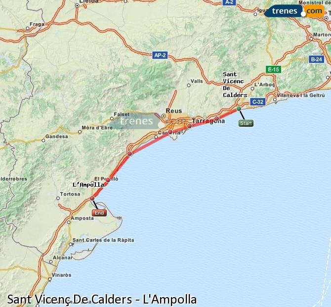 Enlarge map Trains Sant Vicenç De Calders to L'Ampolla