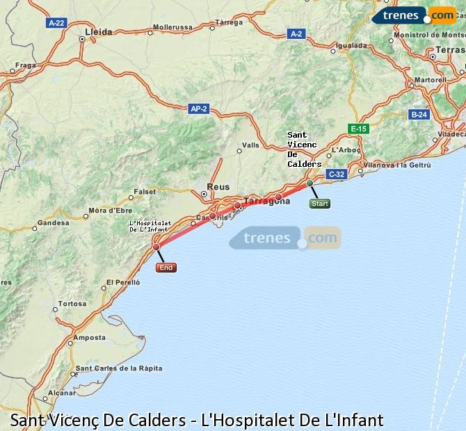 Enlarge map Trains Sant Vicenç De Calders to L'Hospitalet De L'Infant