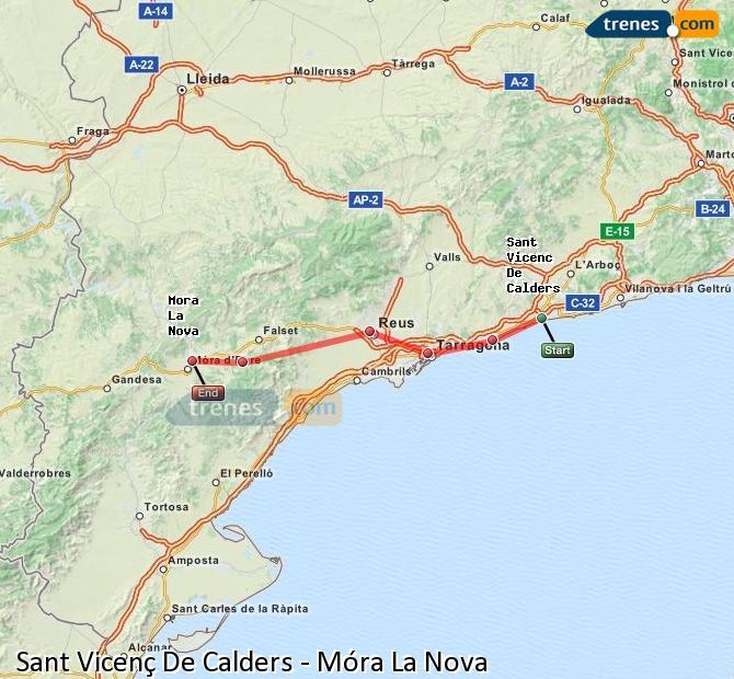 Karte vergrößern Züge Sant Vicenç De Calders Móra La Nova