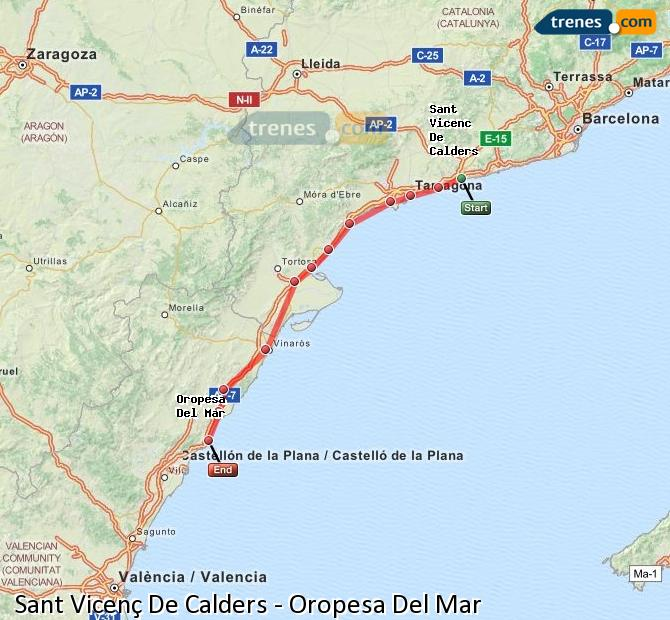Enlarge map Trains Sant Vicenç De Calders to Oropesa Del Mar