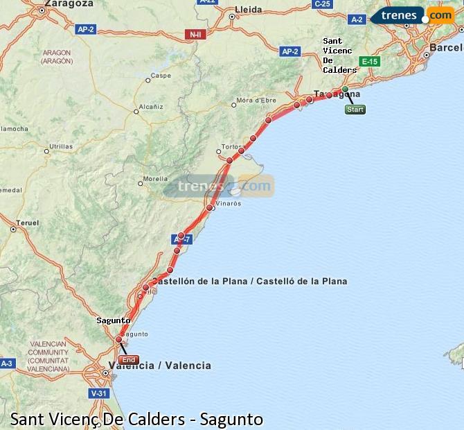 Ingrandisci la mappa Treni Sant Vicenç De Calders Sagunto