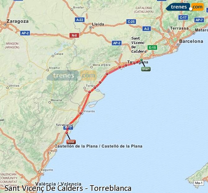 Ingrandisci la mappa Treni Sant Vicenç De Calders Torreblanca