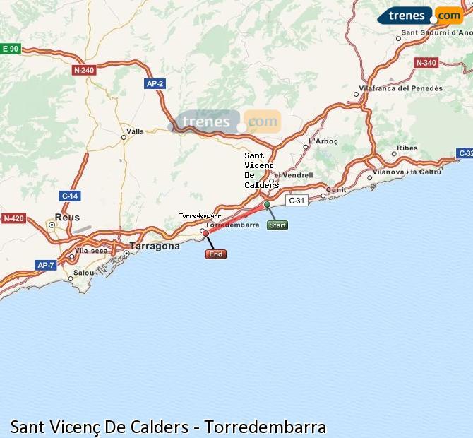 Karte vergrößern Züge Sant Vicenç De Calders Torredembarra