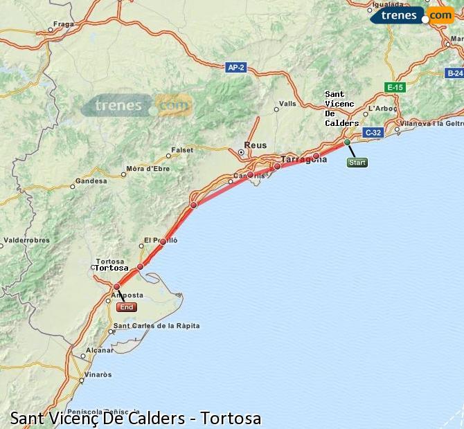 Agrandir la carte Trains Sant Vicenç De Calders Tortosa