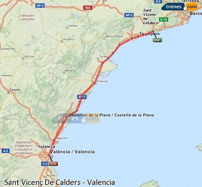 Ingrandisci la mappa Treni Sant Vicenç De Calders Valencia