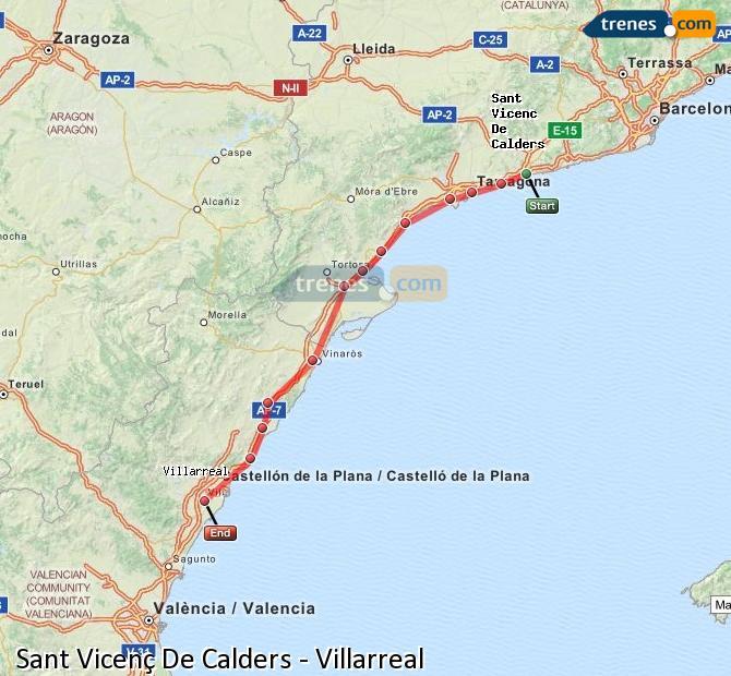 Karte vergrößern Züge Sant Vicenç De Calders Villarreal