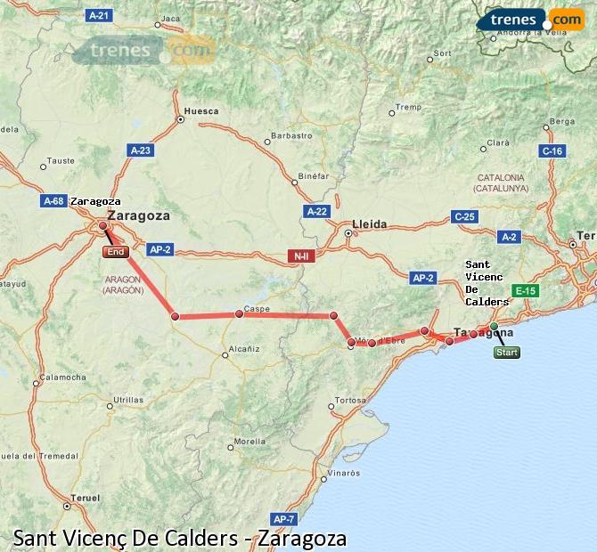 Karte vergrößern Züge Sant Vicenç De Calders Zaragoza