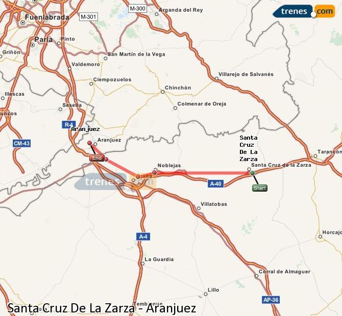 Enlarge map Trains Santa Cruz De La Zarza to Aranjuez