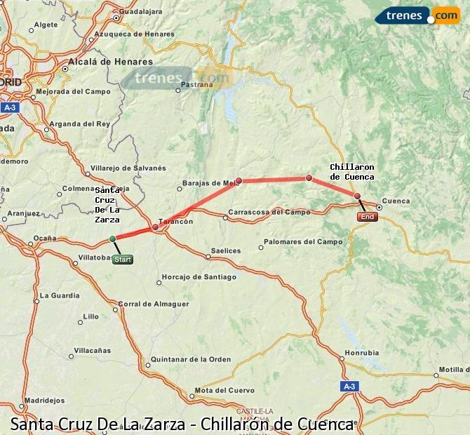 Ingrandisci la mappa Treni Santa Cruz De La Zarza Chillarón de Cuenca