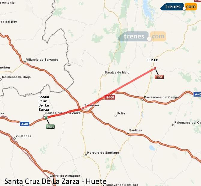 Enlarge map Trains Santa Cruz De La Zarza to Huete