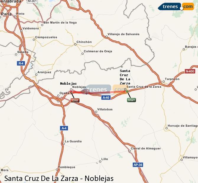 Agrandir la carte Trains Santa Cruz De La Zarza Noblejas