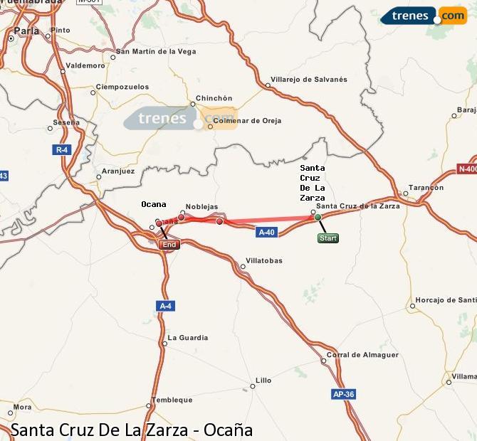Karte vergrößern Züge Santa Cruz De La Zarza Ocaña