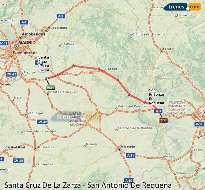 Enlarge map Trains Santa Cruz De La Zarza to San Antonio De Requena