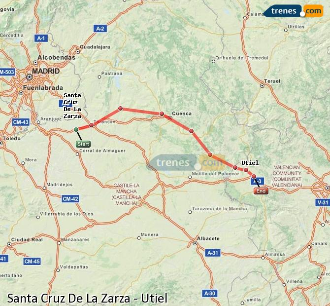 Enlarge map Trains Santa Cruz De La Zarza to Utiel