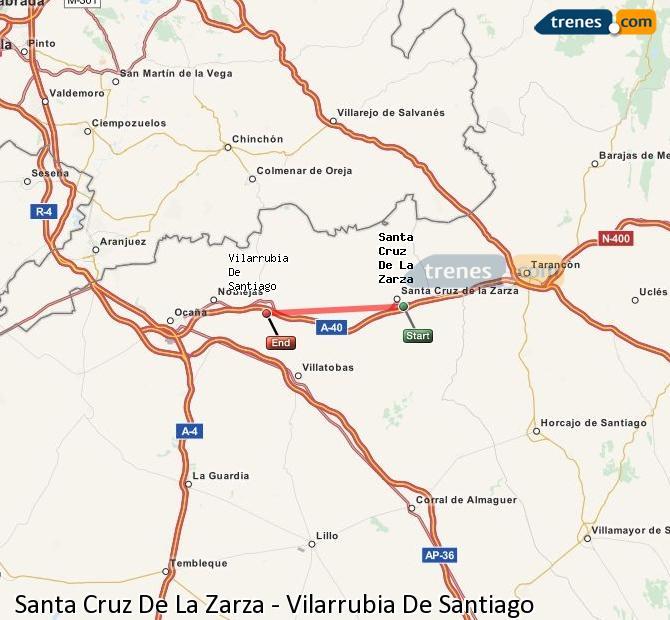 Ingrandisci la mappa Treni Santa Cruz De La Zarza Vilarrubia De Santiago