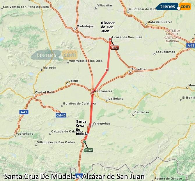Enlarge map Trains Santa Cruz De Mudela to Alcazar de San Juan