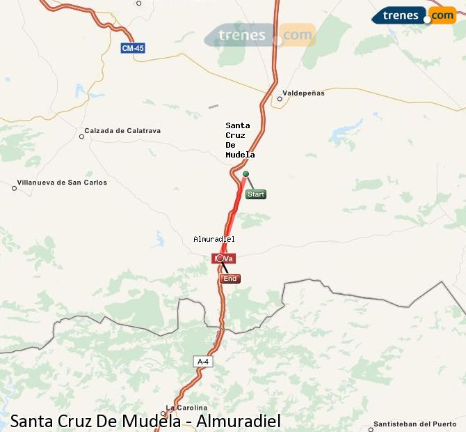 Enlarge map Trains Santa Cruz De Mudela to Almuradiel
