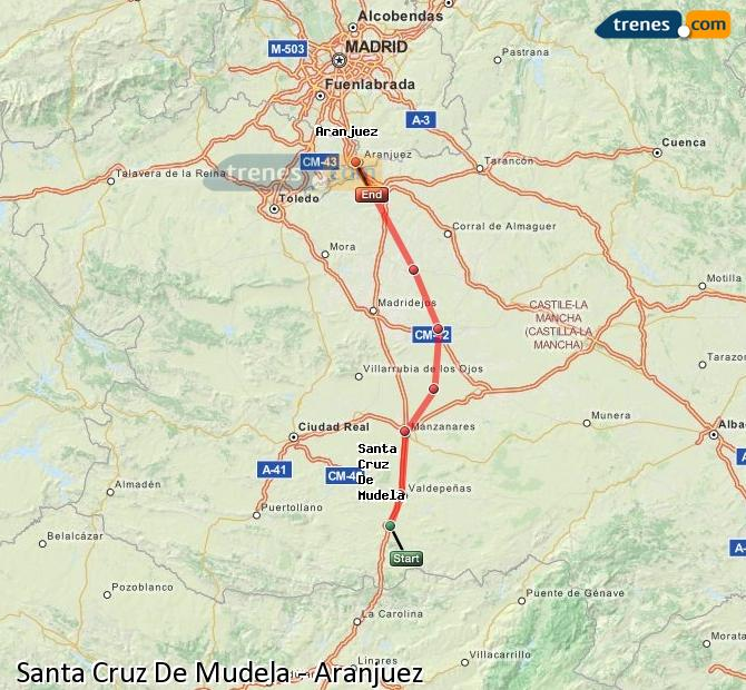 Enlarge map Trains Santa Cruz De Mudela to Aranjuez